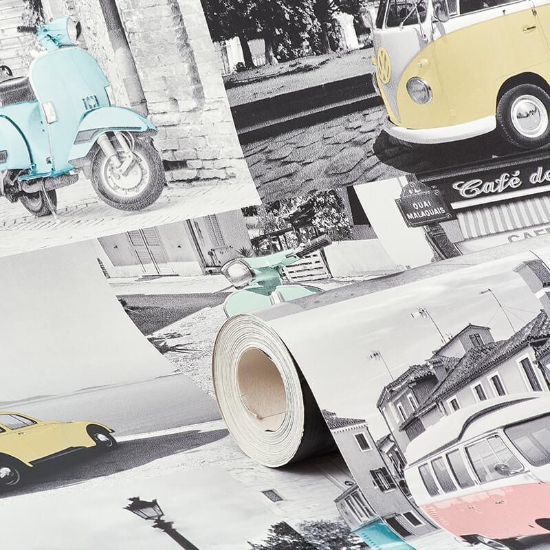 Muriva VW Collage Multi-Coloured Wallpaper - 102563