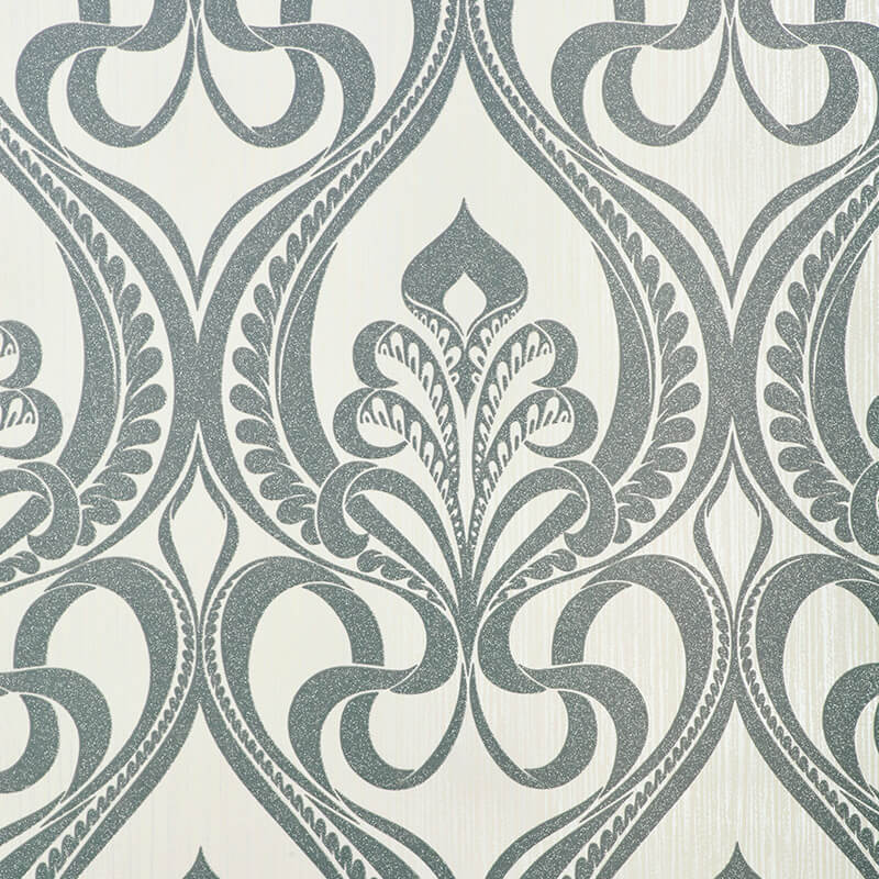 Grandeco Art Nouveau Damask Glitter Wallpaper in Charcoal - 113001