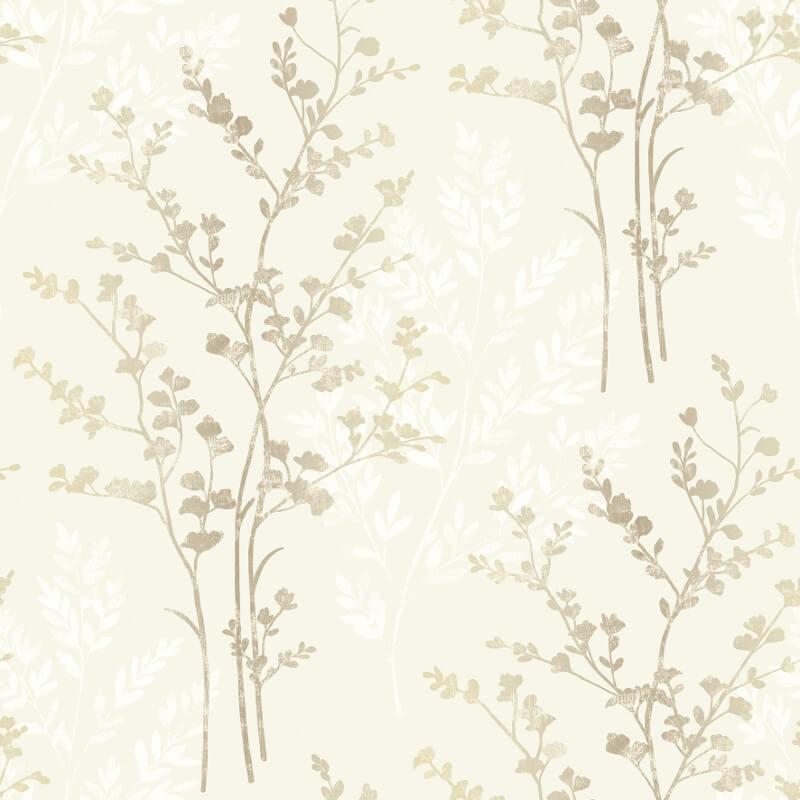 Arthouse Fern Motif Wallpaper in Brown, Beige and Cream - 250402