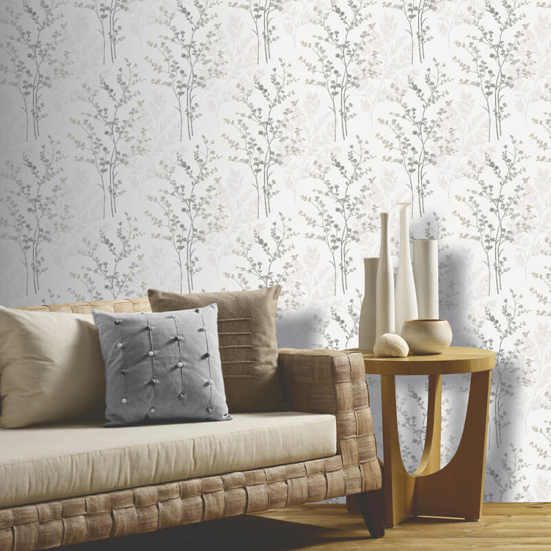 Fern motif arthouse wallpaper in silver white and grey for Grey silver wallpaper living room
