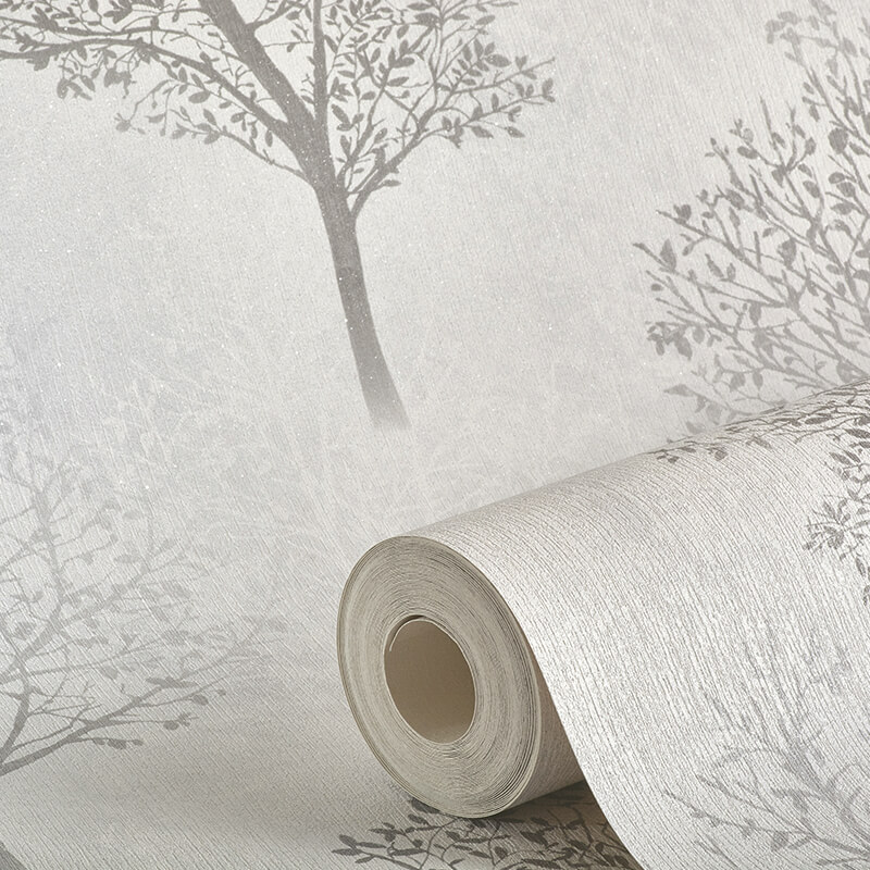 Arthouse Wonderland Tree Mono/Grey Glitter Wallpaper - 256701