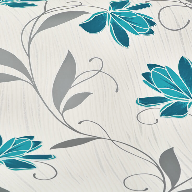 AS Creation Lotus Floral Teal/Grey Glitter Wallpaper - 3062-10