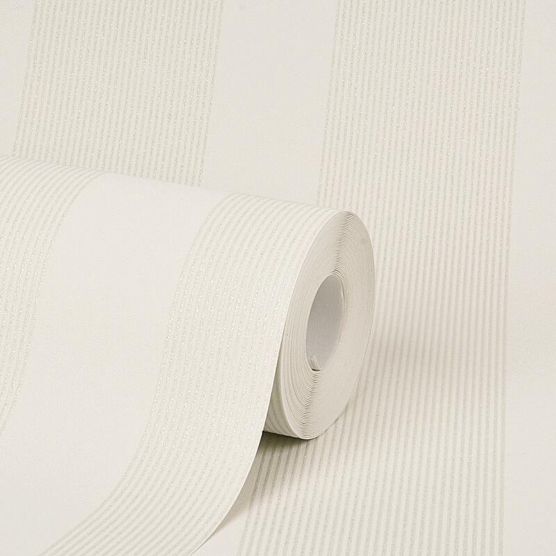 AS Creation Stripe Cream Glitter Wallpaper - 35713-1