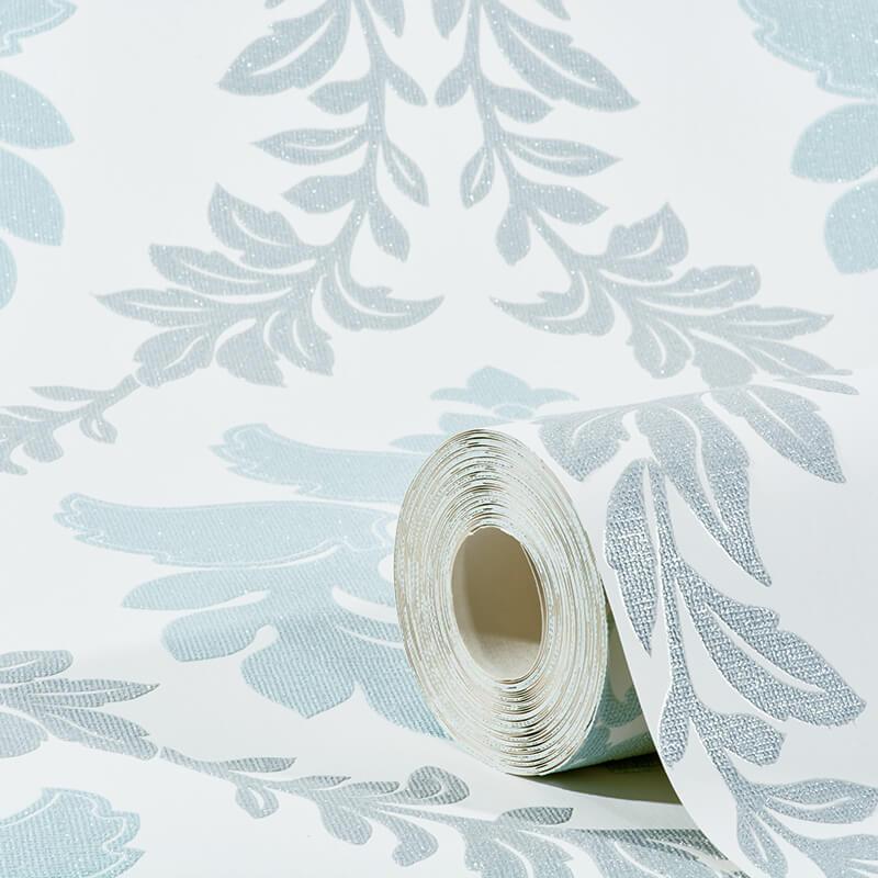 Erismann Damask Teal/Grey Glitter Wallpaper - 4628-08