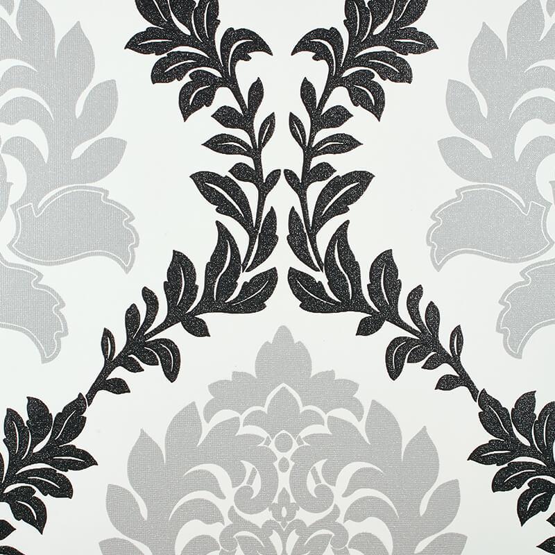 Erismann Damask Black/Silver Glitter Wallpaper - 4628-29