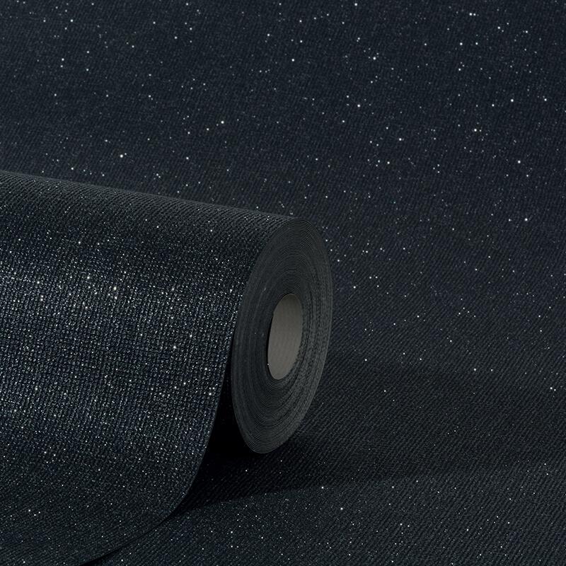 Erismann Plain Black Glitter Wallpaper - 4630-15