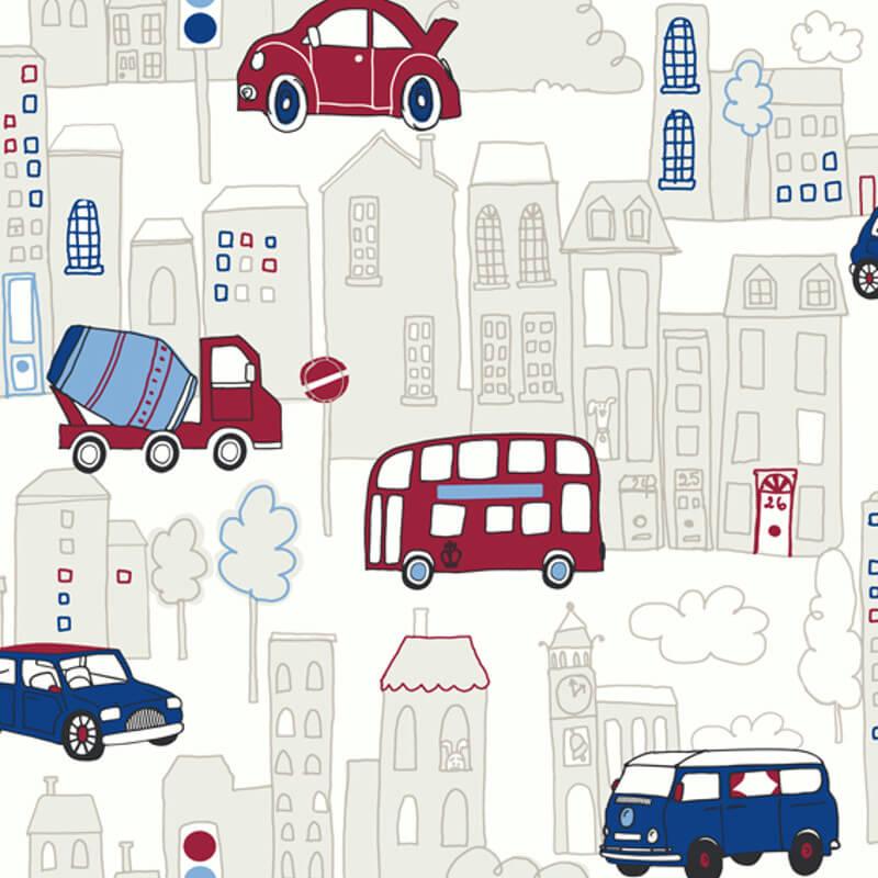Arthouse Motor Mania Opera Fun Wallpaper in Blue - 533501