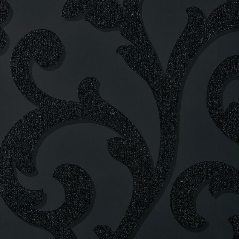 Arthouse Scroll Black Glitter Wallpaper - 892400