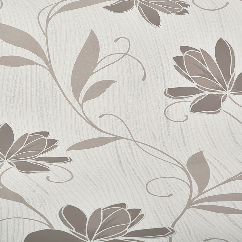 AS Creation Lotus Floral Taupe Glitter Wallpaper - 9496-46