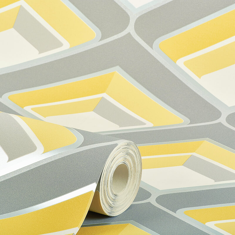 Grandeco geometric glitter wallpaper in yellow and grey a16001 - Gray and yellow wallpaper ...