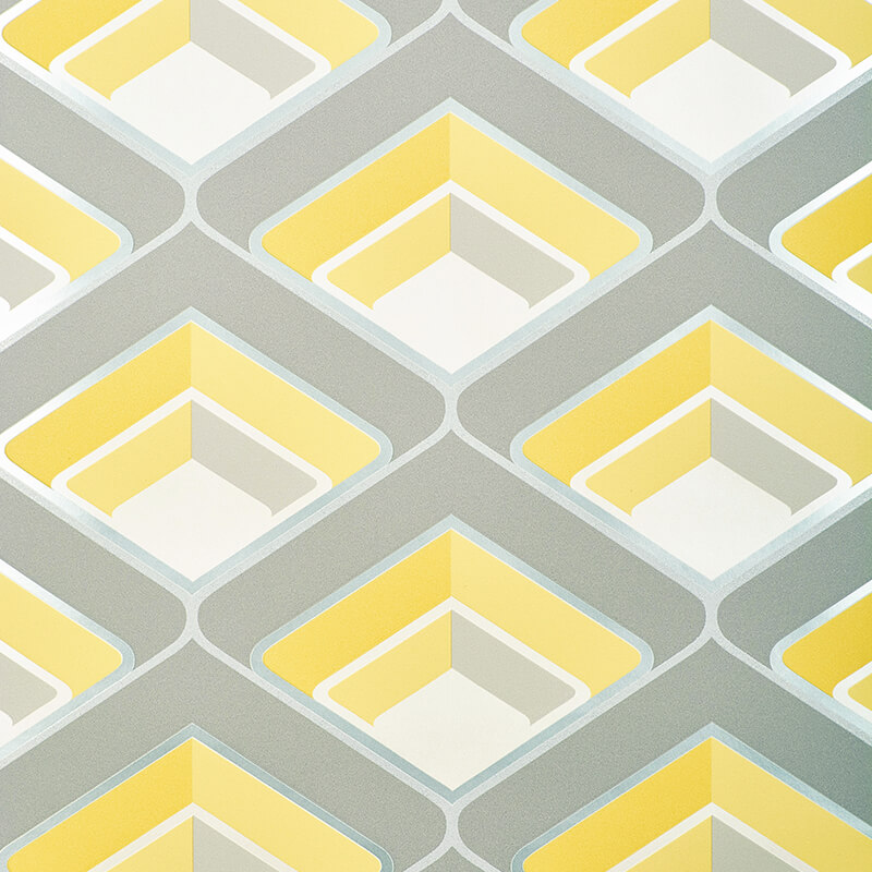 Grandeco geometric glitter wallpaper in yellow and grey a16001
