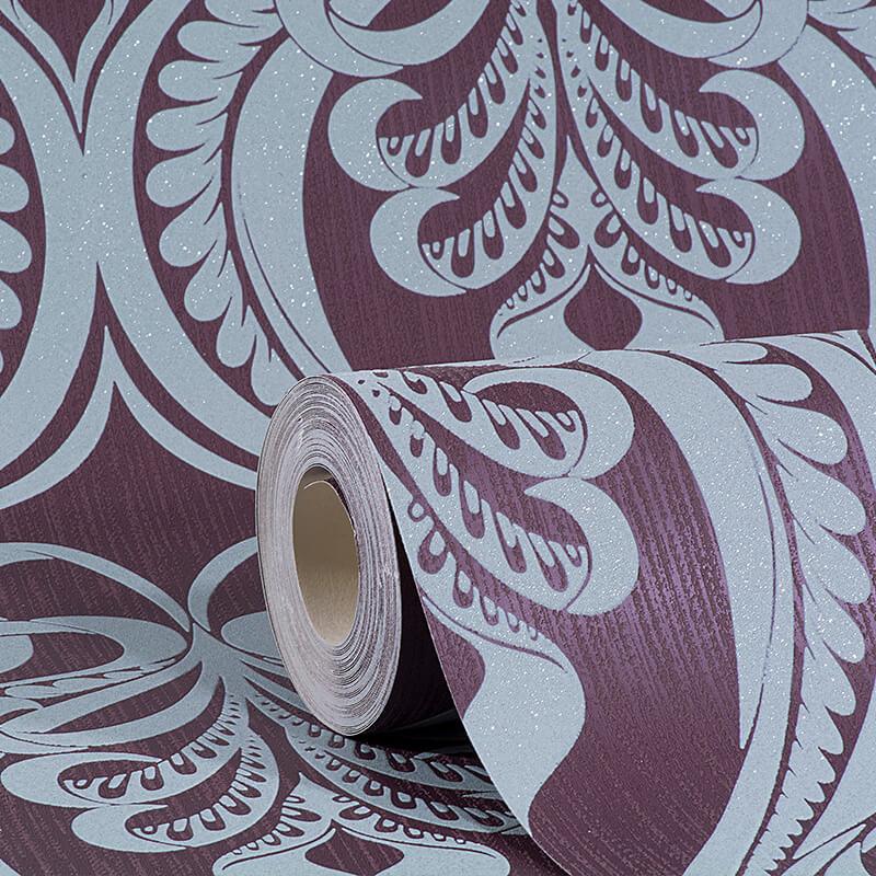 Grandeco art nouveau damask glitter wallpaper in plum a16604 for Art nouveau wallpaper uk