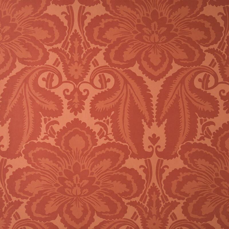 Little Greene Albemarle St. Wallpaper in  Flame