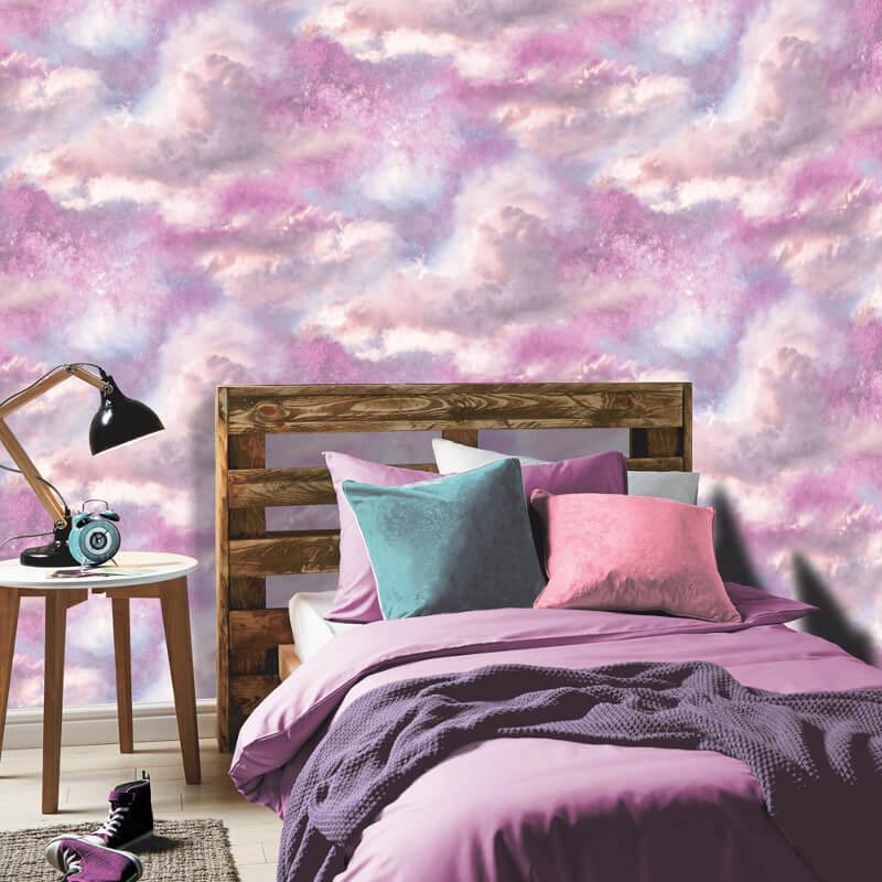 Arthouse Glitter Detail Kids Girls Bedroom Wallpaper: Arthouse Diamond Galaxy Purple/Blush Glitter Wallpaper