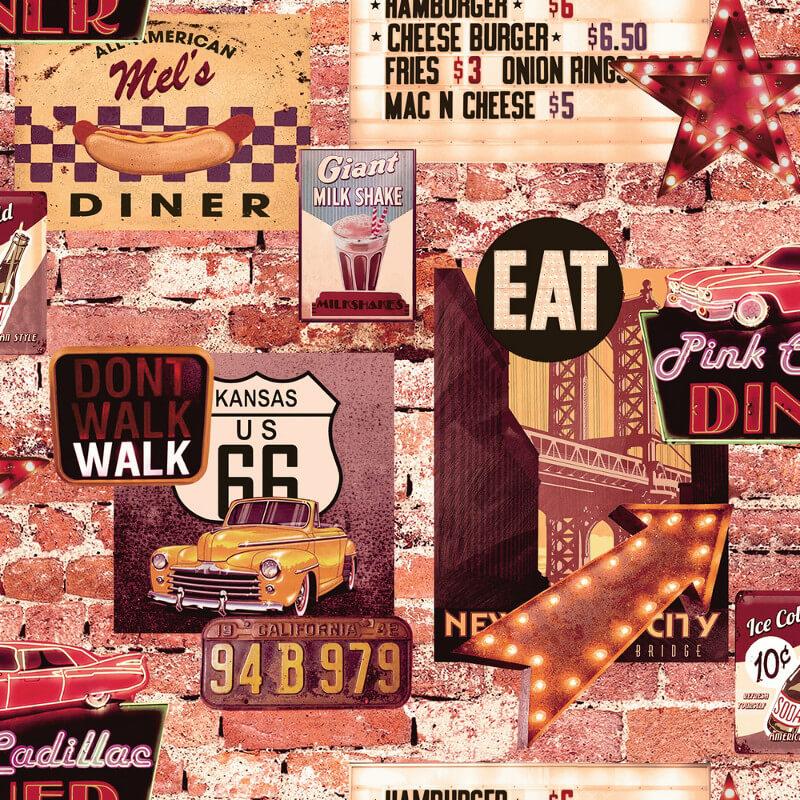 Arthouse American Diner Multi Wallpaper - 889600
