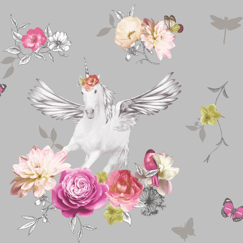 Arthouse Anastasia Unicorn Silver Glitter Wallpaper - 692303