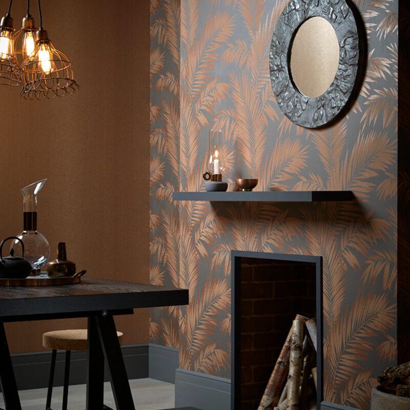 Arthouse Ardita Leaf Glitter Wallpaper in Copper - 673000