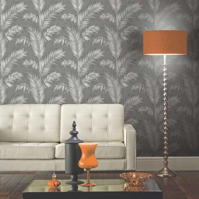 Arthouse Ardita Leaf Glitter Wallpaper in Gunmetal - 673001