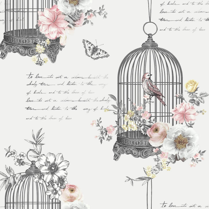 Arthouse Birdcage Neutral Glitter Wallpaper - 259700