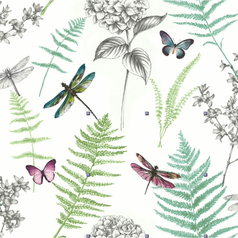 Arthouse Botanical Dragonfly Green Glitter Wallpaper - 699704