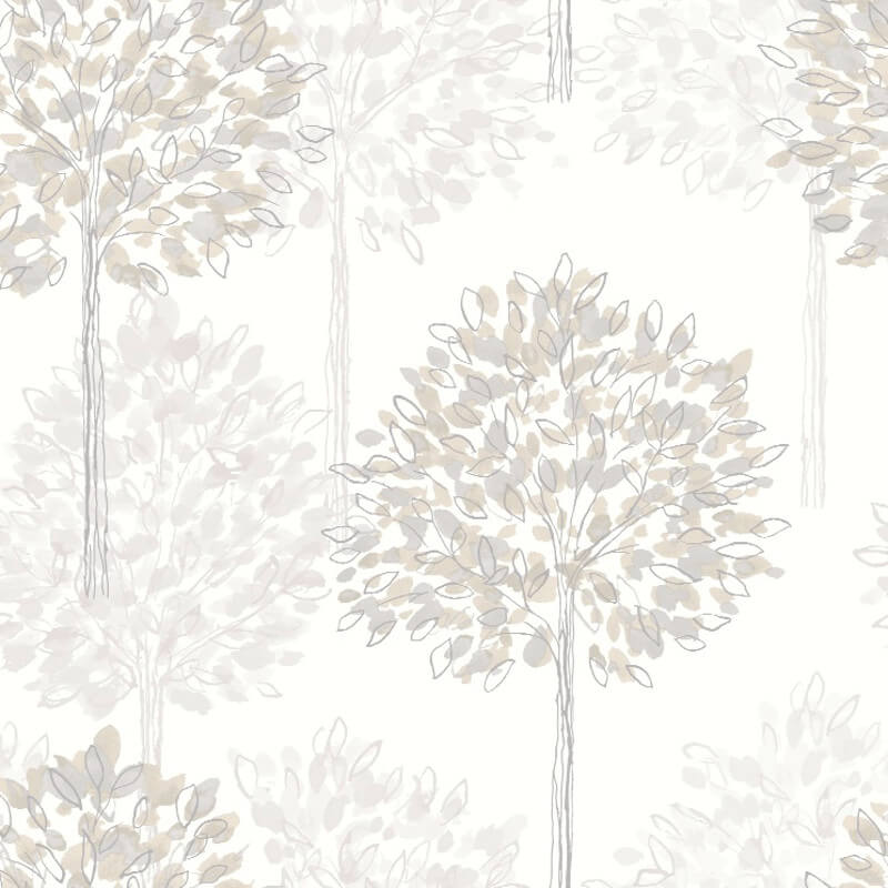 Arthouse Boulevard Trees Wallpaper in Silver and Beige - 417905