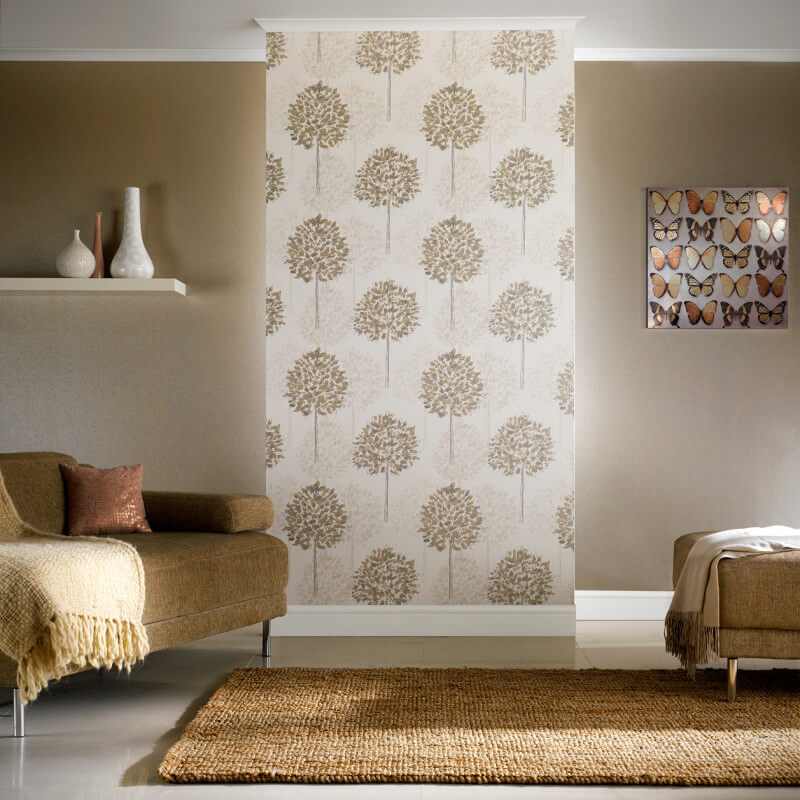 Arthouse boulevard trees wallpaper in silver and beige 417905 for Beige living room wallpaper