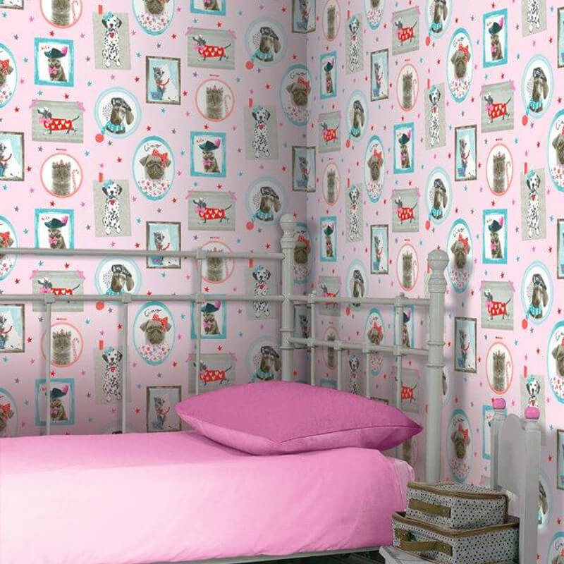 Dog Wallpaper For Walls arthouse cat and dog glitter wallpaper in pink - 668401