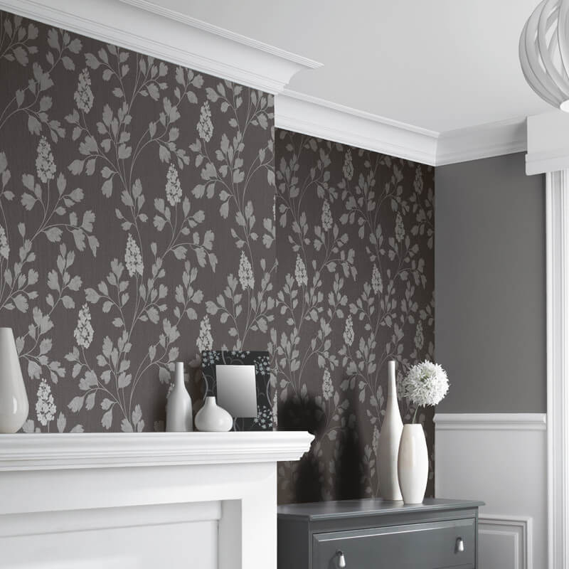 Arthouse Catalina Charcoal Leaf Glitter Wallpaper - 292500