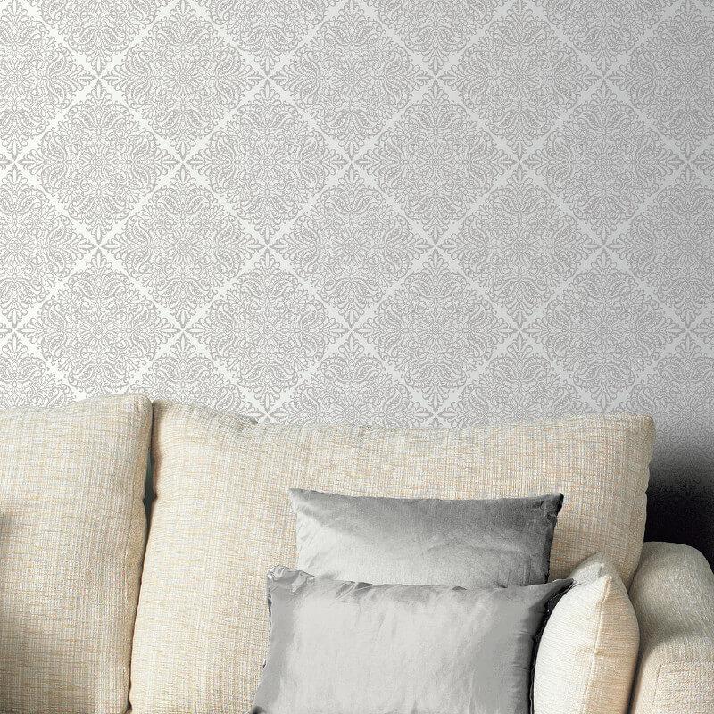 arthouse celestial damask white silver glitter wallpaper