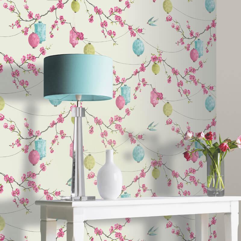 Arthouse Chinese Garden Pink Wallpaper - 695400