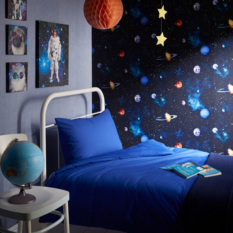 Arthouse cosmos space planets earth wallpaper in charcoal for Blue wallpaper designs for bedroom