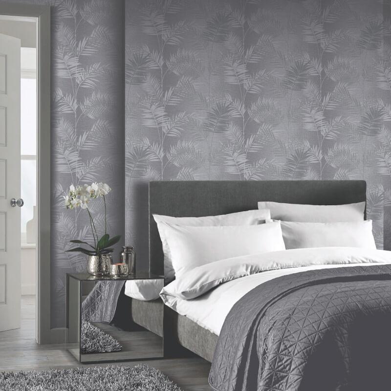 Arthouse Diamond Palm Charcoal Glitter Wallpaper - 259800