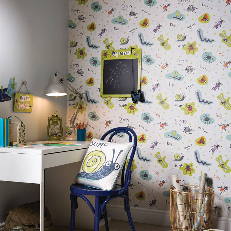 Arthouse Don't Bug Me Insect Wallpaper in Lime and Plum - 667601