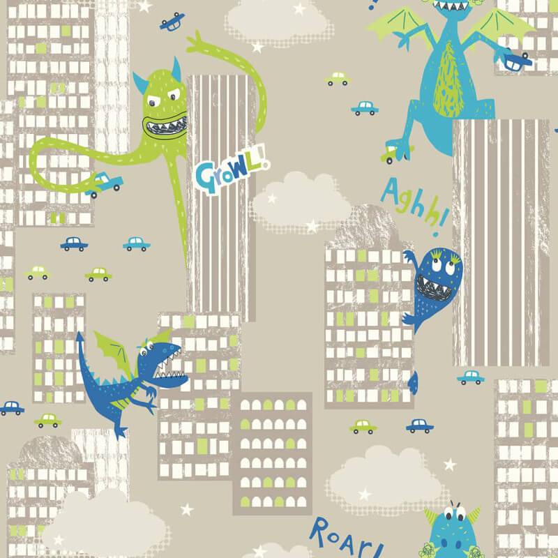Arthouse Dragon and Dinosaur Green/Taupe Wallpaper - 667700
