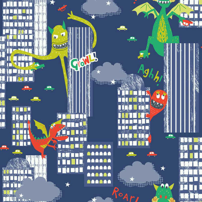Arthouse Dragon and Dinosaur Multi Wallpaper - 667701