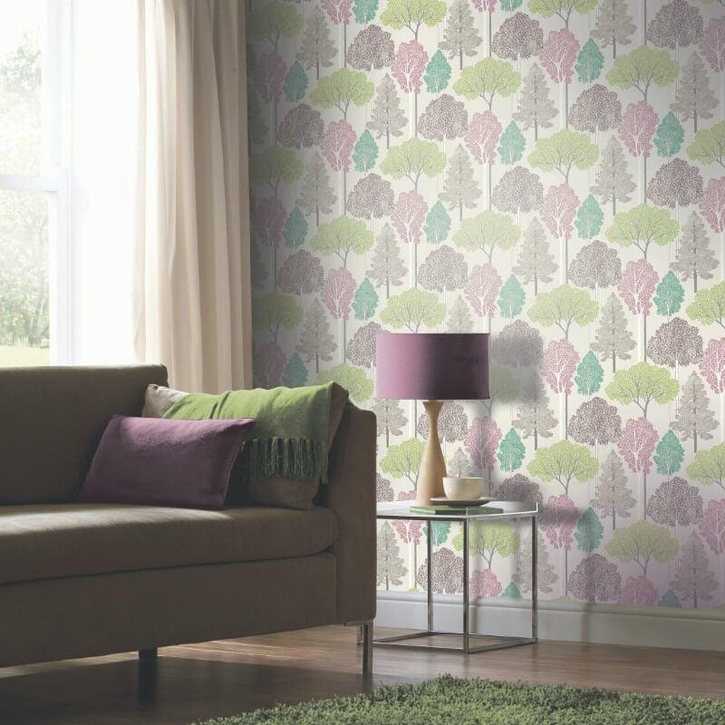 Arthouse Ellwood Trees Multi Glitter Wallpaper - 670000