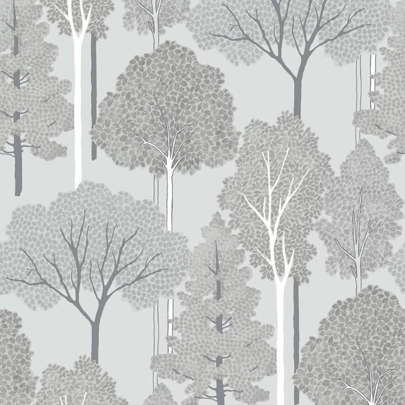 Arthouse Ellwood Trees Silver Glitter Wallpaper - 670002