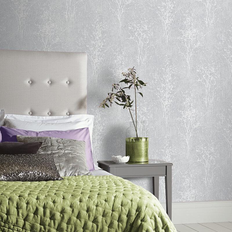 Arthouse Floresta Tree Silver Glitter Wallpaper - 292701
