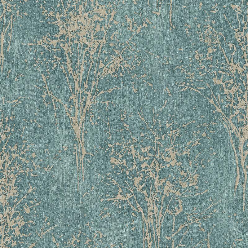 Arthouse Floresta Tree Teal Glitter Wallpaper - 292702