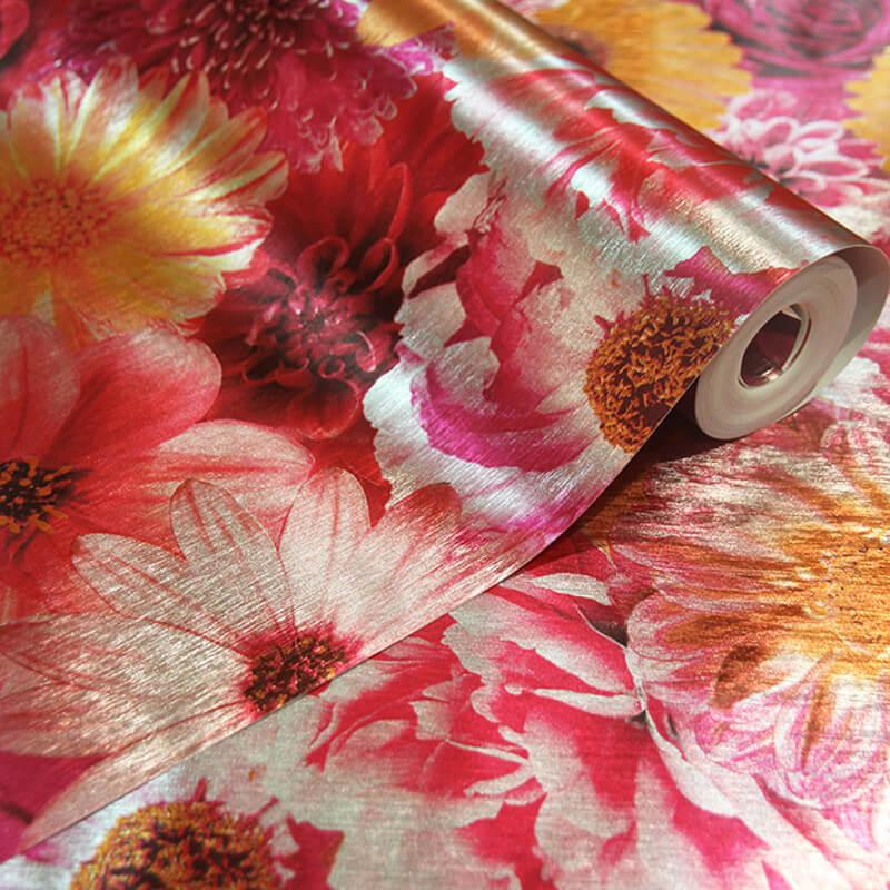 Arthouse Bloom Fuchia Foil Metallic Wallpaper - 294000