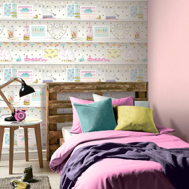 Arthouse Girls Life Multi Glitter Wallpaper - 696004