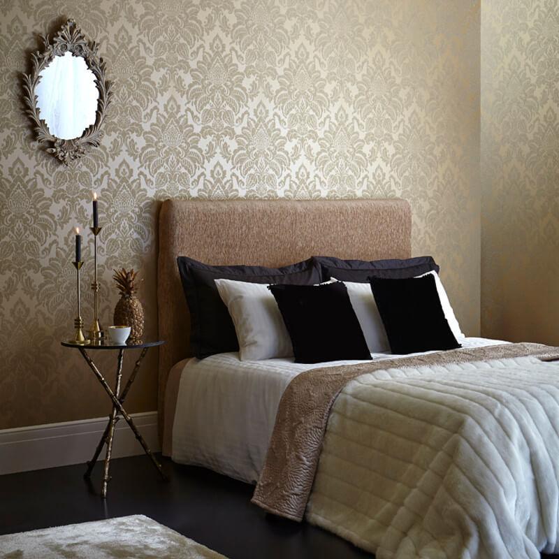 Arthouse Glisten Damask Glitter Wallpaper in Gold - 673200