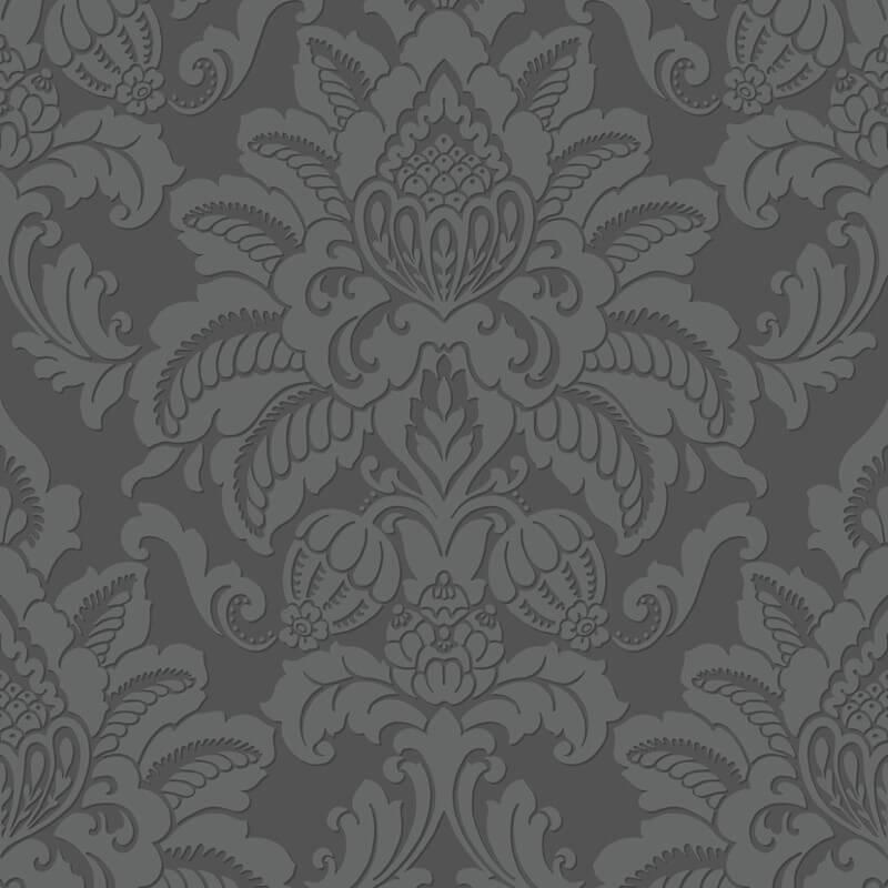 Arthouse Glisten Damask Glitter Wallpaper in Gunmetal - 673201