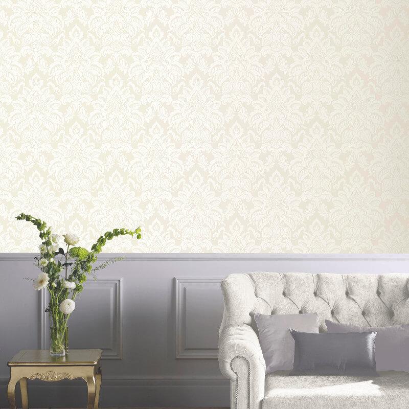 Arthouse Glisten Damask Glitter Wallpaper in Pearl - 673202
