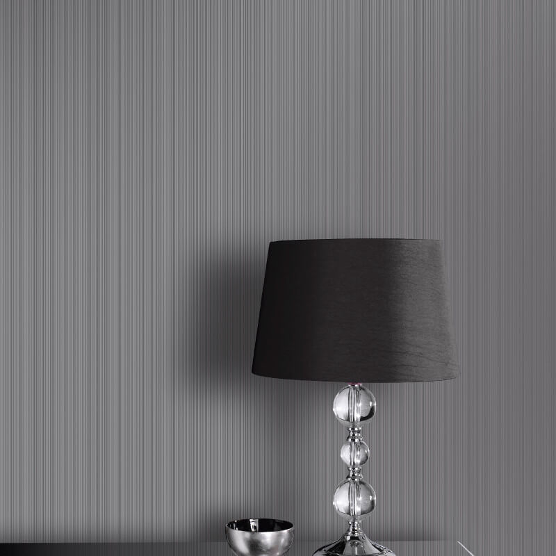 Arthouse Glisten Stripe Gunmetal Glitter Wallpaper - 696900