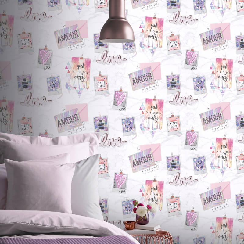 Arthouse Good Vibes Multi Glitter Wallpaper - 699707