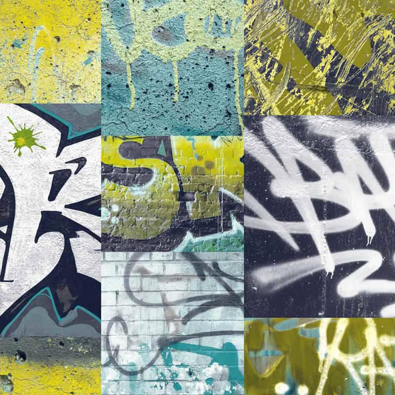 Arthouse Graffiti Brick Wall Photo Wallpaper in Lime - 668300
