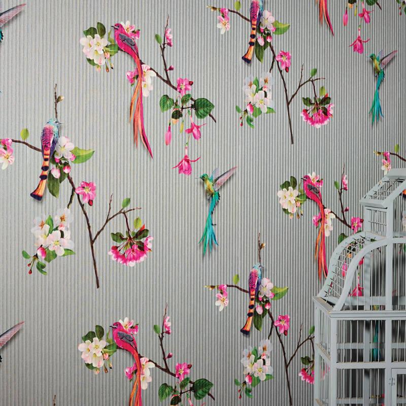 Arthouse Kotori Birds Silver Wallpaper - 293106