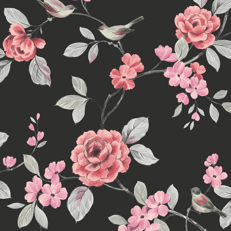 Arthouse Lara Wallpaper in Black and Red - 414502