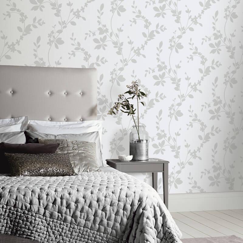 Charming Arthouse Lavinia Floral Silver Glitter Wallpaper   891702